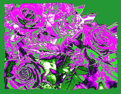 Digital Art - Bordered Elegant Roses by Will Borden