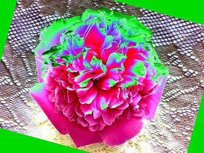 Table Cloth Digital Art - Bordered Peony Abstract by Will Borden