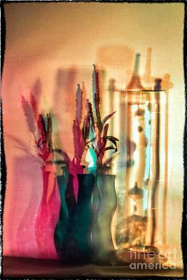 Digital Art - Bordered Shadow Vases by Georgianne Giese