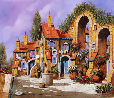 Painting Rights Managed Images - Borgo A Colori Royalty-Free Image by Guido Borelli