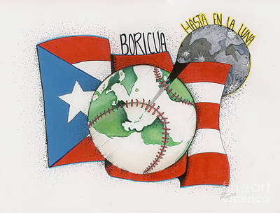 Baseball Drawings Mixed Media - Boricua Hasta En La Luna by Adliris Rivera