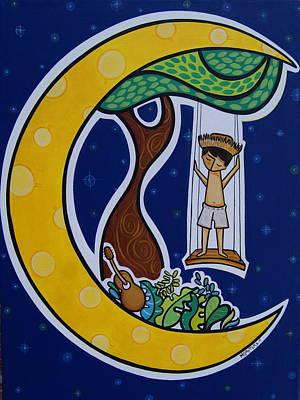 Borincano En La Luna Art Print by Mary Tere Perez