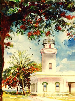 Puerto Rico Painting - Borinquen Lighthouse Aguadilla Puerto Rico by Estela Robles