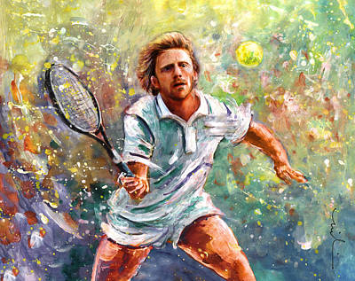 Sports Paintings - Boris Becker by Miki De Goodaboom