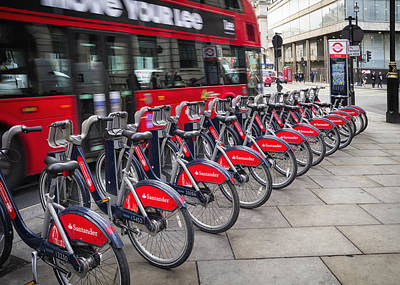 Photograph - Boris Bikes And Buses by Shirley Mitchell