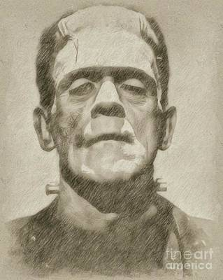 Star Trek Drawing - Boris Karloff As Frankenstein by Frank Falcon