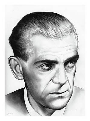 Frankenstein Drawing - Boris Karloff by Greg Joens