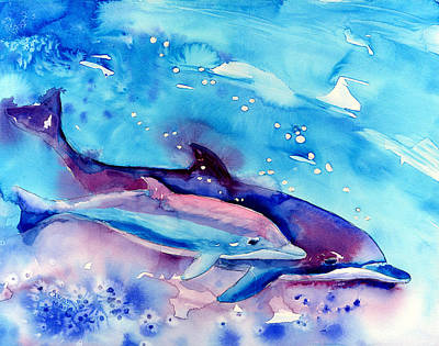 Bottle-nose Painting - Born Free by Art by Carol May