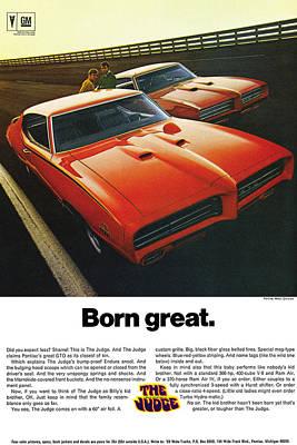 Racetrack Digital Art - Born Great. 1969 Pontiac Gto The Judge by Digital Repro Depot