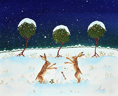 Snowy Night Painting - Born Of Snow by Lisa Cole