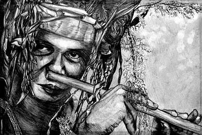 Pasta Al Dente - Borneo aboriginal nose flute man by One Of Its Kind