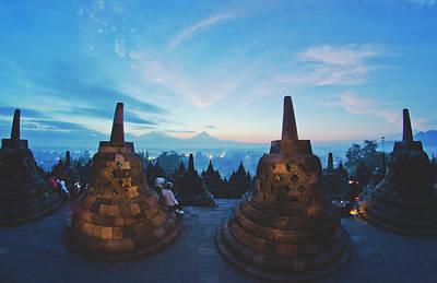 Borobudur Temple, Indonesia At Dusk Art Print