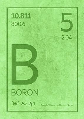 Periodic Table Wall Art - Mixed Media - Boron Element Symbol Periodic Table Series 005 by Design Turnpike