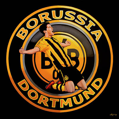 Lewandowski Wall Art - Painting - Borussia Dortmund Painting by Paul Meijering
