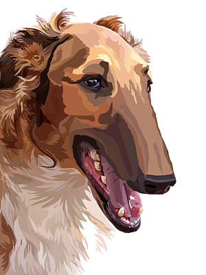 Greyhound Mixed Media - Borzoi by Alexey Bazhan