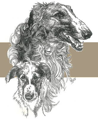 Mixed Media - Borzoi And Pup by Barbara Keith