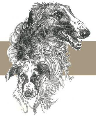 Mixed Media - Borzoi And Pup by Barbara Keith