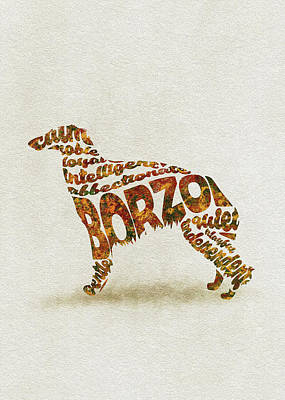 Art Print featuring the painting Borzoi Dog Watercolor Painting / Typographic Art by Inspirowl Design