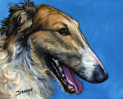 Borzoi Painting - Borzoi Profile by Dottie Dracos