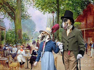 Painting - Borzoi - Russian Wolfhound Art Canvas Print - A Summer Day At Paris Park  by Sandra Sij