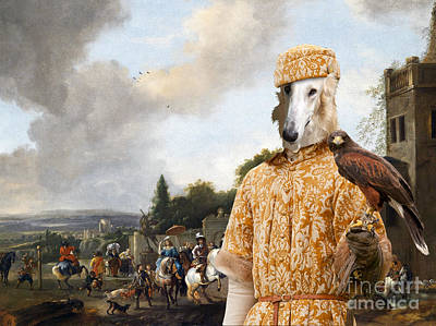 Painting - Borzoi - Russian Wolfhound Art Canvas Print - Setting Off On A Falcon Hunt  by Sandra Sij