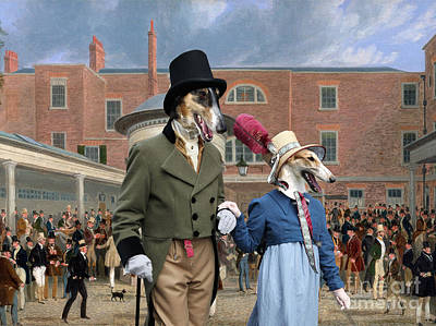 Painting - Borzoi - Russian Wolfhound Art Canvas Print - Settling Day At Tattersalls  by Sandra Sij