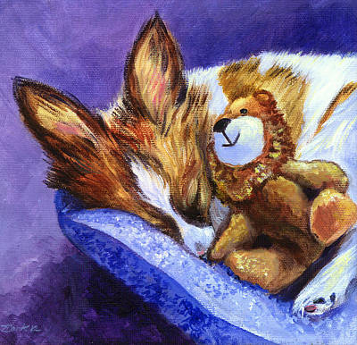Bos And The Lion - Papillon Print by Lyn Cook