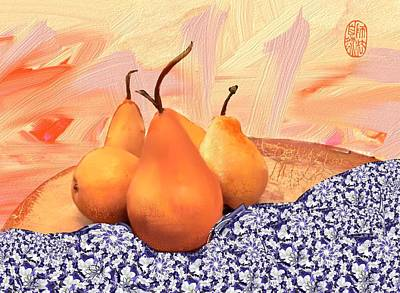 Pyrus Communis Photograph - Bosc Pears On The Table by Elaine Weiss