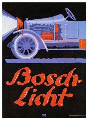 Mixed Media - Bosch Licht - Bosch Headlamps - Auto Advertising Poster -  Vintage, Retro by Studio Grafiikka