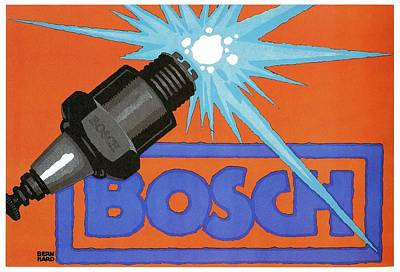 Royalty-Free and Rights-Managed Images - Bosch Spark plug - Vintage Advertising Poster - Minimal Industrial Art by Studio Grafiikka