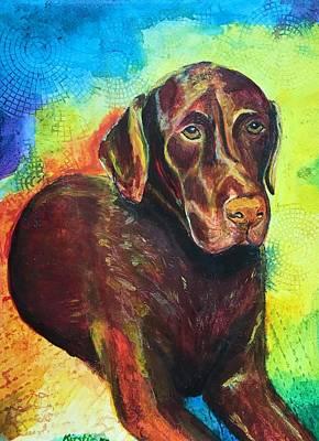 Chocolate Labrador Retriever Painting - Bosco by Kirstie Brown