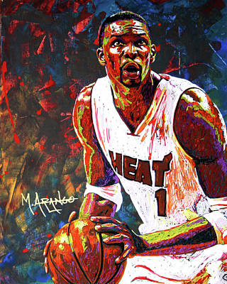 Basketball Players Painting - Bosh by Maria Arango