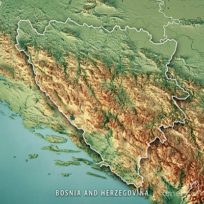 Non People Digital Art - Bosnia And Herzegovina Country 3d Render Topographic Map Border by Frank Ramspott