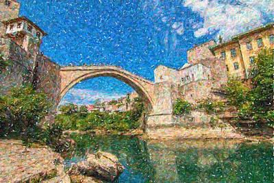 Landmarks Painting - Bosnia Mostar Herzegovina Europe Travel Landmark by Celestial Images
