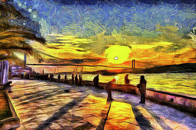Mixed Media - Bosphorus Istanbul Sunset Art by David Pyatt