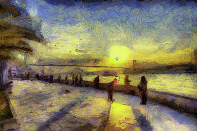 Mixed Media - Bosphorus Sunset Art by David Pyatt
