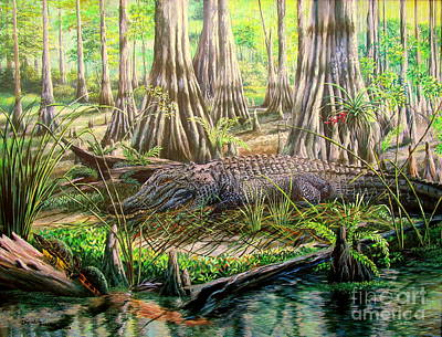 Bromeliad Painting - Boss In The Bayou- Alligator by Daniel Butler
