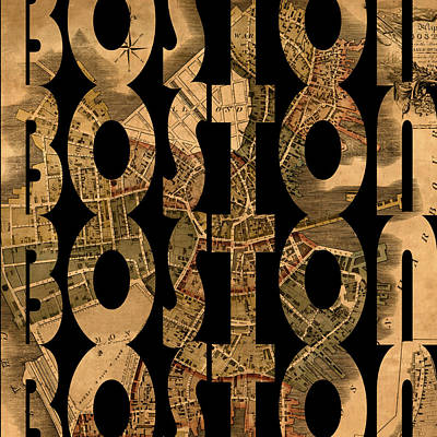 Typography Map Photograph - Boston 1775 by Andrew Fare