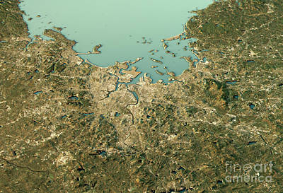 Geography Digital Art - Boston 3d View West-east Natural Color by Frank Ramspott