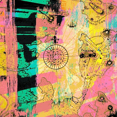 Boston Abstract Compass V2 Art Print by Brandi Fitzgerald