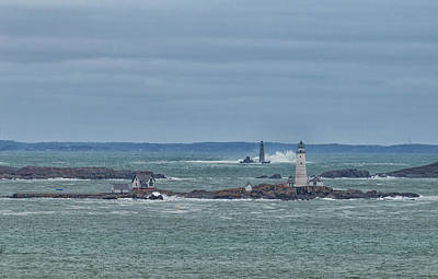 Photograph - Boston And Graves Lighthouses Waves by Brian MacLean