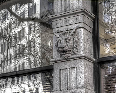 Photograph - Boston Architectural Detail Boston Ma Lion In Stone 2 by Toby McGuire