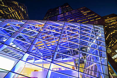 Photograph - Boston Architecture - Federal Street At Night Glass Building Boston Ma by Toby McGuire