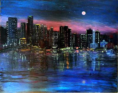 Painting - Boston At Night by Anne Sands