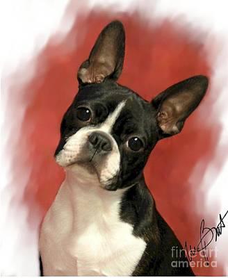 Terrier Digital Art - Boston Beauty by Maxine Bochnia