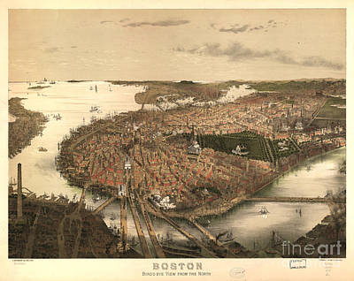 Boston Drawing - Boston Bird's-eye View From The North by Edward Fielding