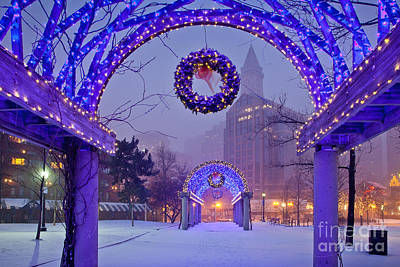 Boston Blue Christmas Art Print by Susan Cole Kelly