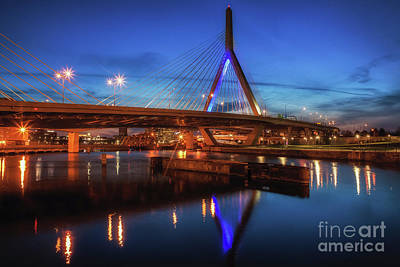 Photograph - Boston Blue Hour Over Zakim Bridge by Kimberly Nyce