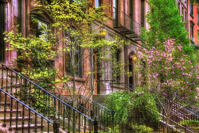 Spring Scenes Photograph - Boston Brownstones In Spring - Back Bay by Joann Vitali
