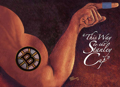 Penn State University Painting - Boston Bruins - This Way To The Stanley Cup by Jean-Marie Poisson